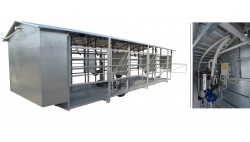 Mobile milking parlour MOOTECH-6 with receiving jar and equipment cabinet