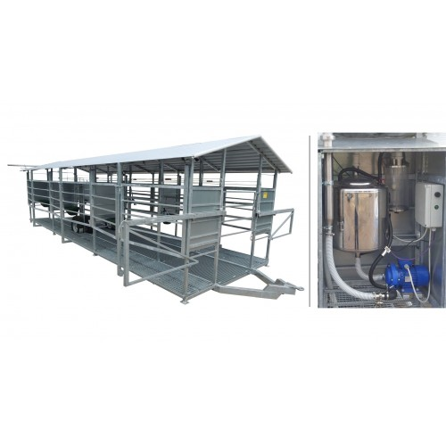 Mobile milking parlour MOOTECH-6 with receiving jar